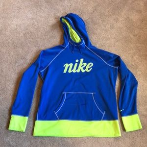 Nike blue and neon yellow pullover sweatshirt